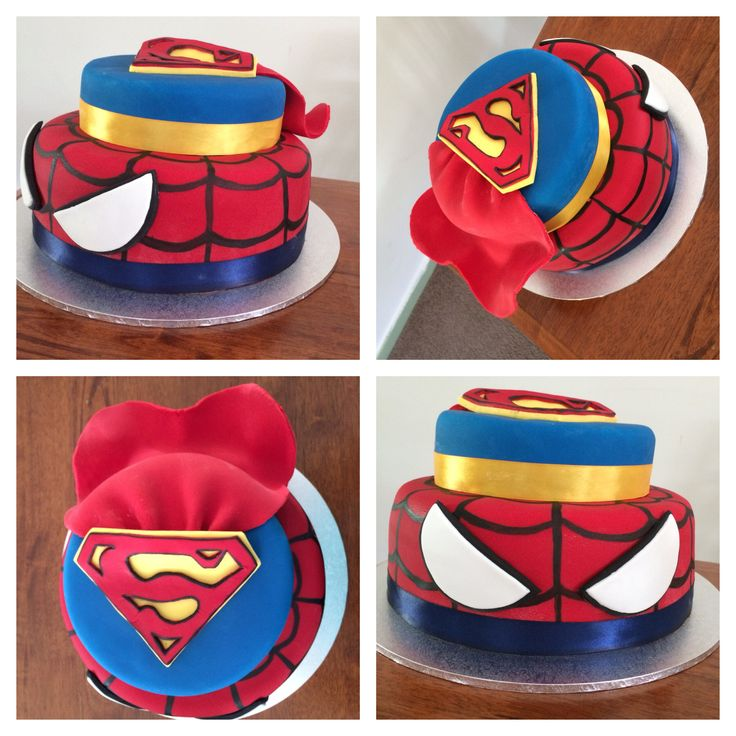 Superman and Spider-Man birthday cake