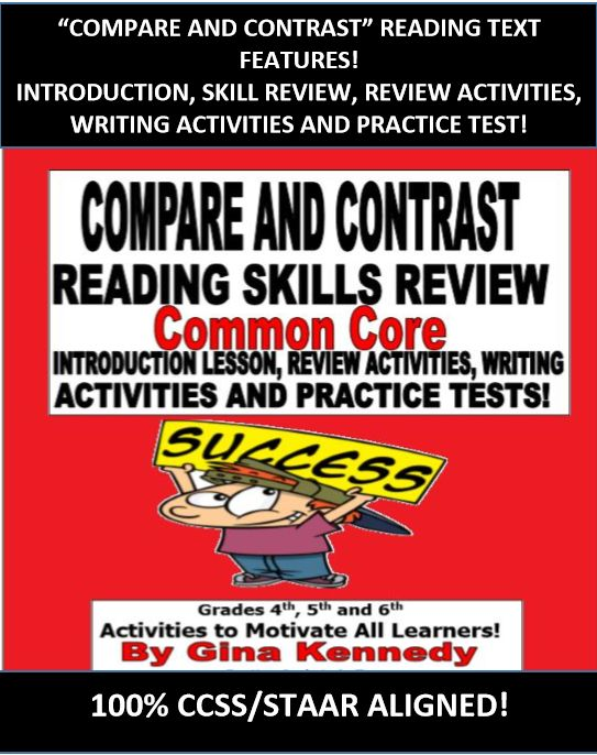 COMMON CORE COMPARE AND CONTRAST LESSON, ACTIVITIES, WRITING PROJECTS AND STANDARDIZED TEST PRACTICE! GREAT INTRODUCTION, REVIEW OR RETEACH ACTIVITY! An excellent lesson on compare and contrast for any 4th, 5th,or 6th grade reading classroom. In this extensive lesson students will review the definition of compare and contrast, as well as practice finding similarities and differences between book characters, passages, poetry and books of the same genre.