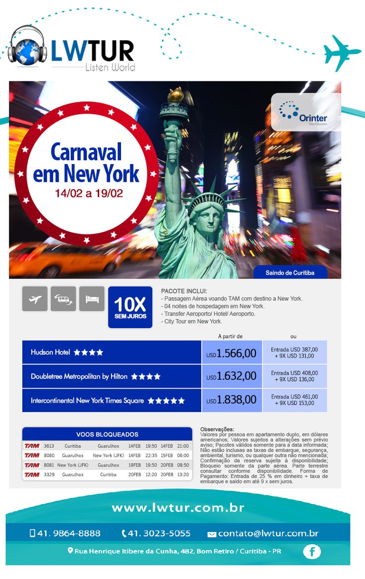 Super Promo Carnaval em NY - saindo de Curitiba #voudelisten