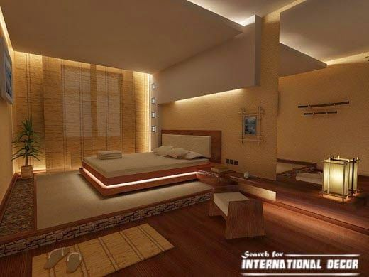 A Japanese Inspired Apartment With Plenty Storage Systems: Japanese Style Bedroom With False Ceiling Design