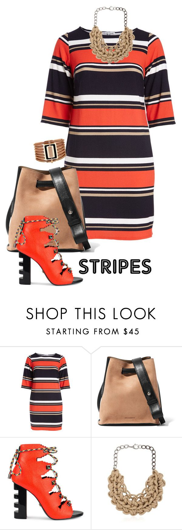 """""""Lined"""" by naomi-mann ❤ liked on Polyvore featuring Sandra Darren, Jil Sander, Kat Maconie, Alienina, Vince Camuto, BoldStripes and plus size dresses"""
