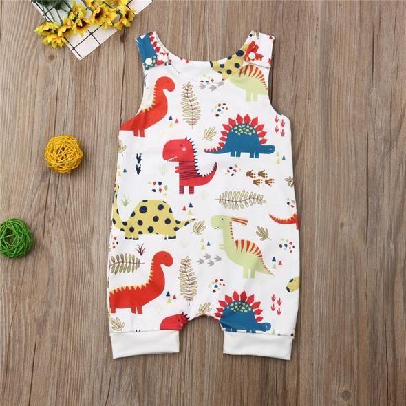 Cute Dinosaur Print Baby Boy Romper