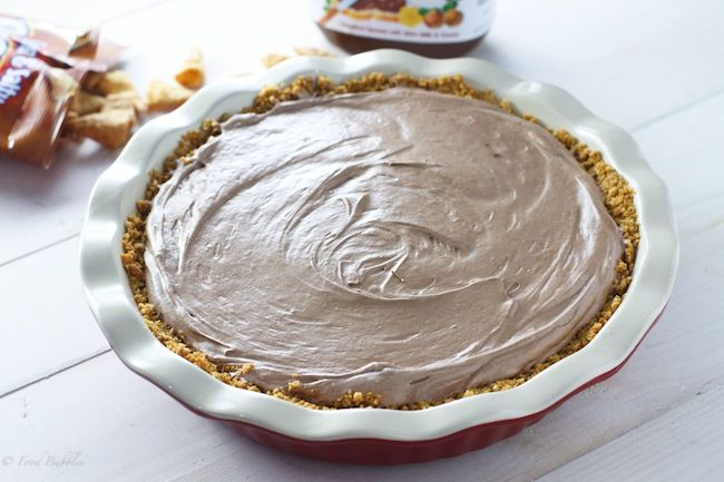 Nutella Mousse Pie with Caramel Bugles Crust