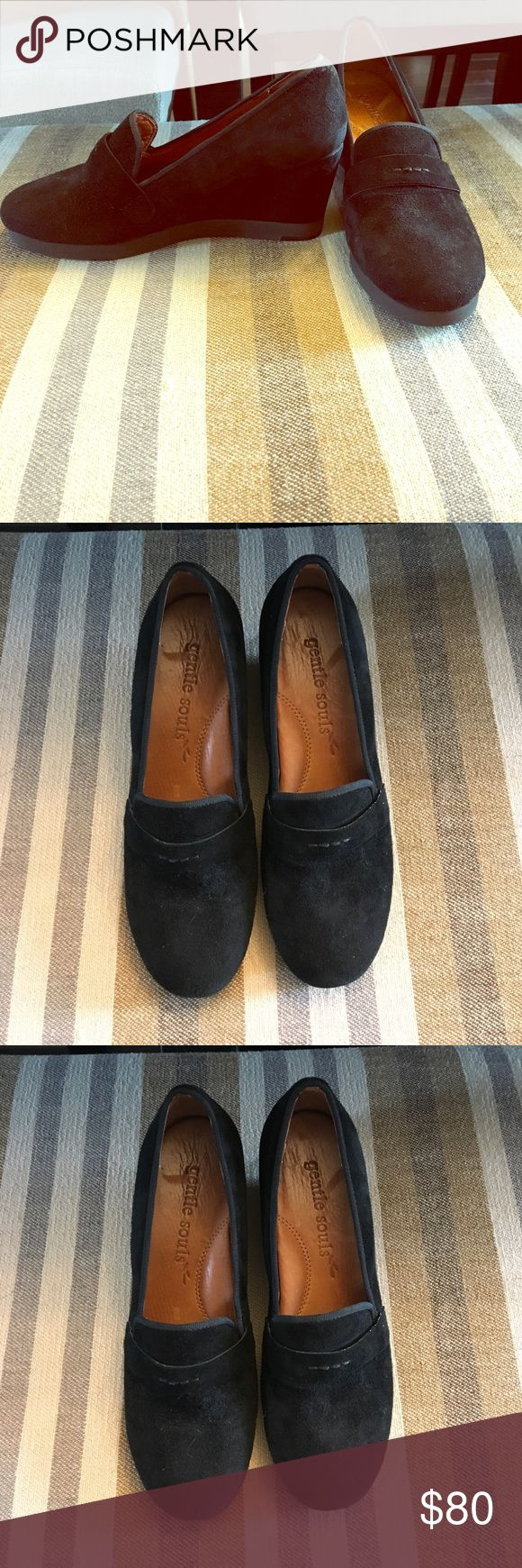 Gentle Souls Wedge Shoes Black, with leather in sole & lining, size 7M. Very comfortable with good arch support while at work. Worn only one time. In good condition. Gentle Souls Shoes Wedges