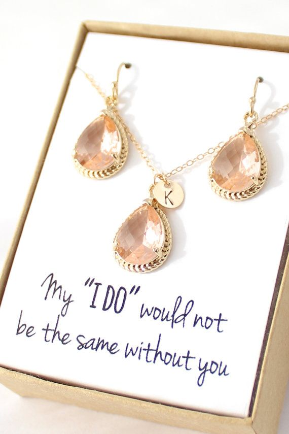 Peach Champagne Necklace and Earrings Set Bridesmaid Jewelry by ForTheMaids