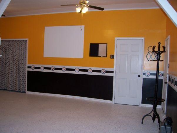 Steelers Man Cave Ideas | Fan Man Cave, Detached Garage Turned Steeleru0027s  Room, Projector Tv ... | Eric Bedroom Ideas In 2018 | Pinterest | Man Cave,  Cave ...