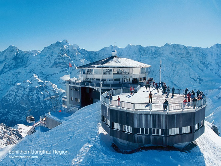 Schilthorn u2013 Piz Gloria Best view of Eiger Mönch and Jungfrau! Also cool because one of the bond films was filmed hear really nice place to visit ... & Schilthorn u2013 Piz Gloria: Best view of Eiger Mönch and Jungfrau ... pezcame.com