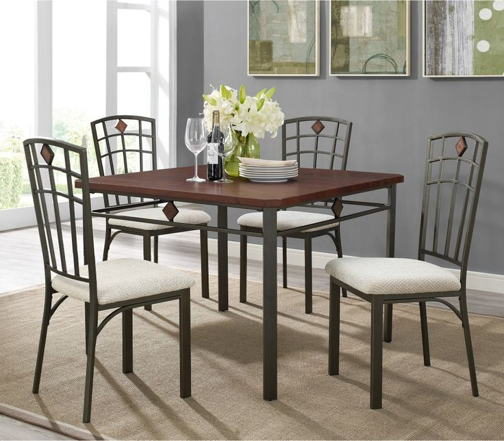 Roman Metal And Wood 5 Piece Dinette Table 4 Chairs 34900 42 X