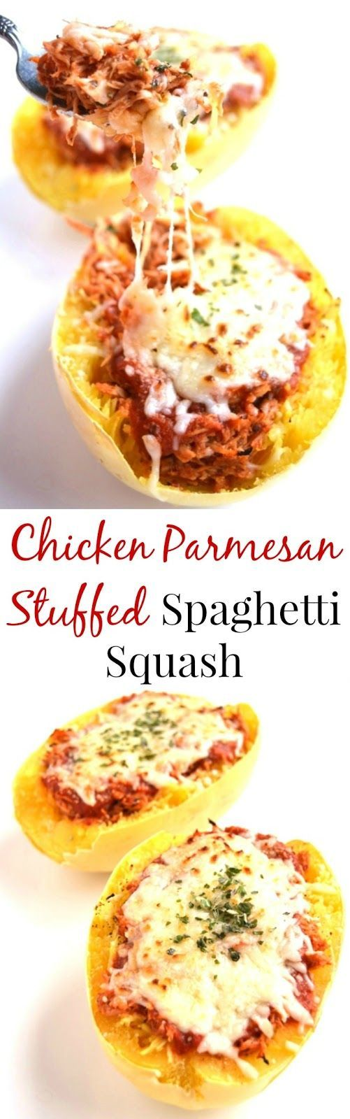Chicken Parmesan Stuffed Spaghetti Squash is a much healthier but still delicious version of your favorite chicken parm. The chicken is cooked in the slow cooker to make it easy! www.nutritionistreviews.com