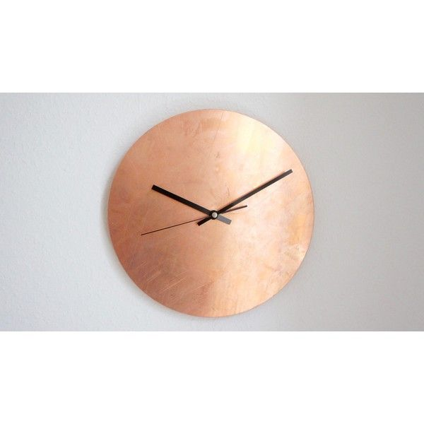 Calvill Copper Raw Wall Clock (€89) ❤ liked on Polyvore featuring home, home decor, clocks, brown, copper home decor, copper clock, copper home accessories, brown wall clock and copper wall clock