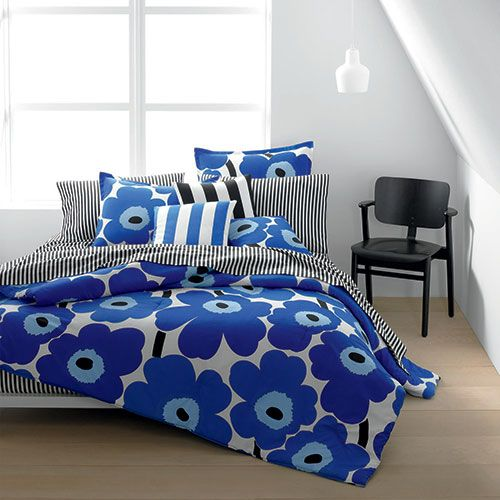 Cool, blue tones are soothing and calming- perfect for the bedroom. Whether you are eight years old or 80, the Unikko pattern still will make you wake up happy! Marimekko Unikko Blue Percale Bedding