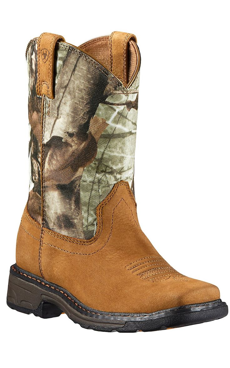 Ariat WorkHog Kids Aged Bark w/Camo Top Square Toe Western Boots