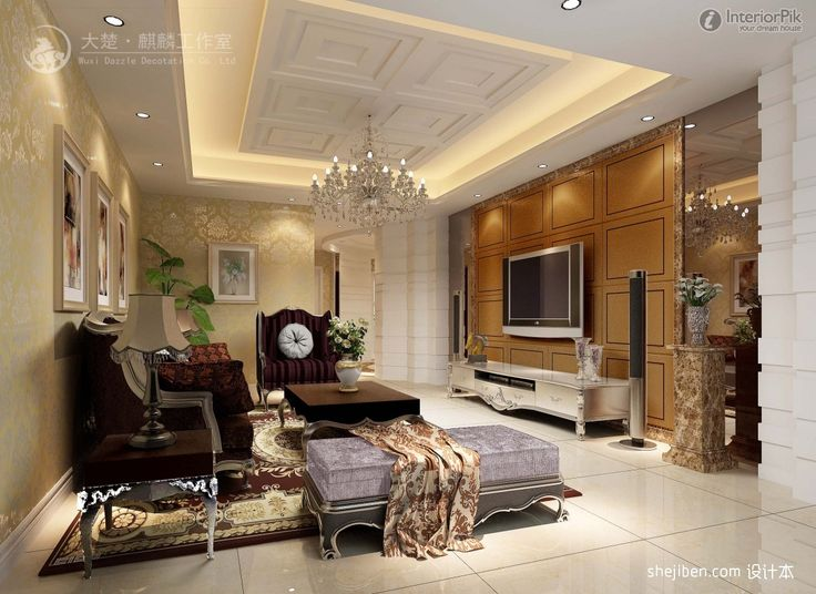 renderings decor in living room with flat screen TV POP Ceiling Decor ...