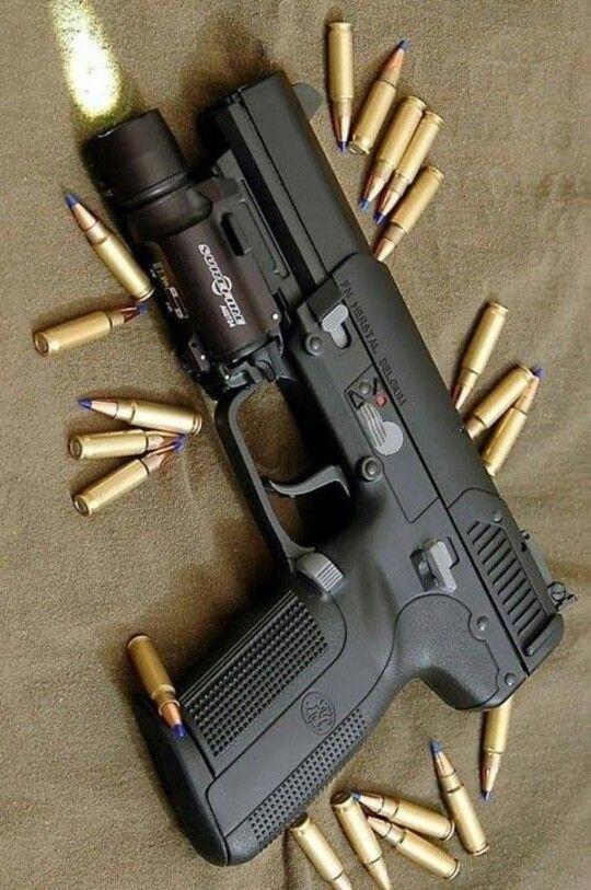 FN 5.7 with Surefire light and blue tip ammo #LEGunSales.com
