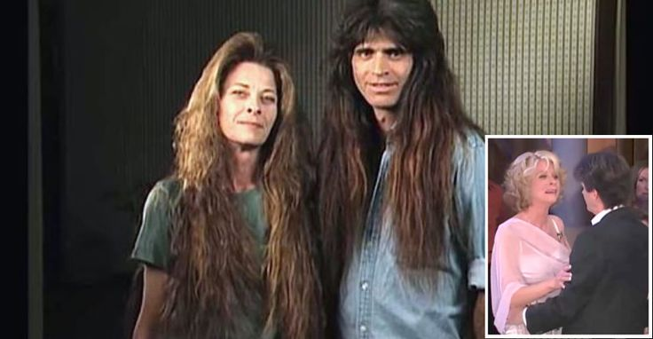 """From 2003.I just love the look in the mans face when he spots his wife💚💚💚unfortuately he has since died. the couple you're about to meet isstuck in a time warp. Tim and Wendy, who referred to themselves as the """"Rock 'n' Roll Hair Couple,"""" were married for 12 years. Their friends and family absolutely adored them, but were horrified by their outdated hair..."""