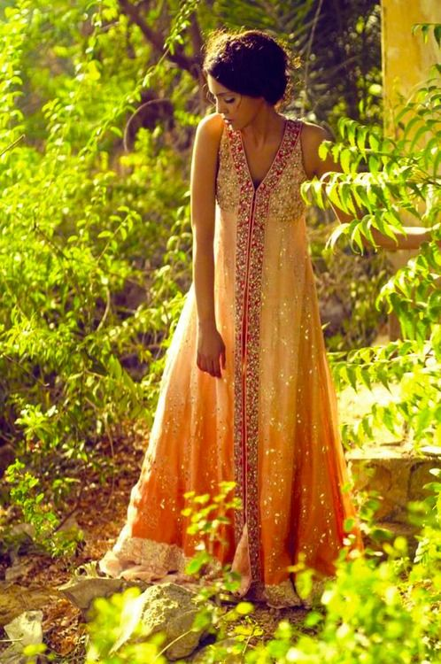 peach gown anarkali - mehndi