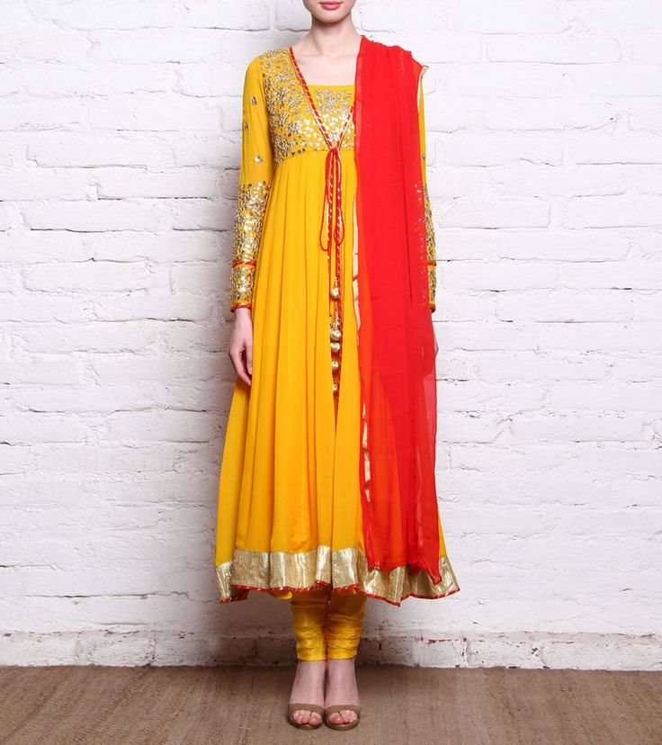 Yellow Georgette Anarkali Suit With Gota Patti