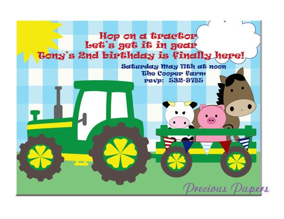 Digital Farm birthday invitations Tractor Birthday Party Invitations Tractor Printable Download within 24 hours $12.50 + supplies