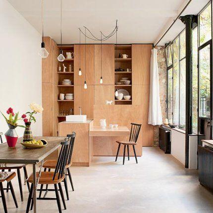 un cuisine ouverte dans un atelier loft jai dj les chaisses - Table Atelier Loft
