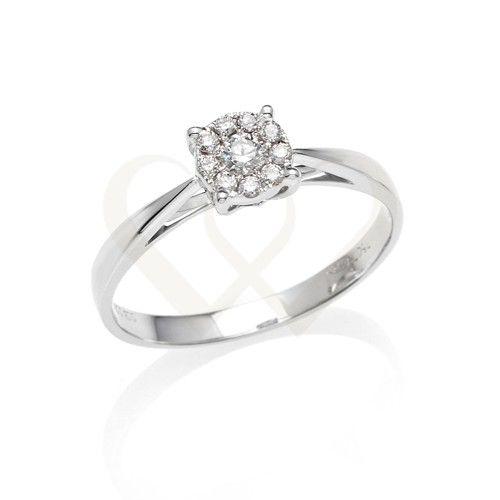 Fehér arany eljegyzési gyűrű, 0,63 CT gyémánt kővel. Foglalat: 18 KT fehér arany. // White gold, 18 KT engagement ring with 0,63 CT diamond.