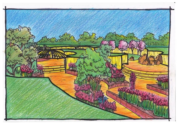 Visual drawing of one of my design projects landscape for Garden design visualiser