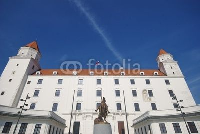 Front view of the Bratislava's castle with equestrian statue of King Svatopluk I at the Honorary Courtyard since 2010