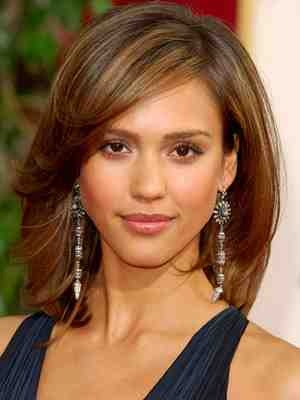 Jessica Alba shoulder length hair with long fringe. Haircut idea?