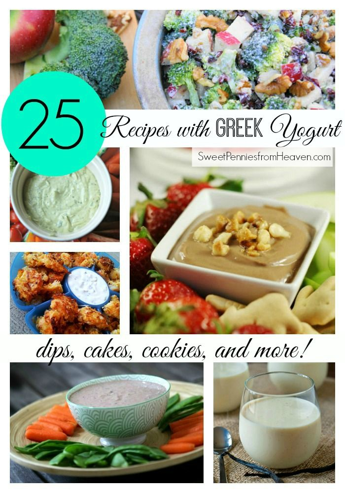 25 Delicious Greek Yogurt Recipes including Dips, Cakes, Cookies and so much more! Greek yogurt is so healthy and full of protein. It's an excellent ingredient to replace other fattening ingredients, like mayo or sour cream, with. Enjoy these recipes!!