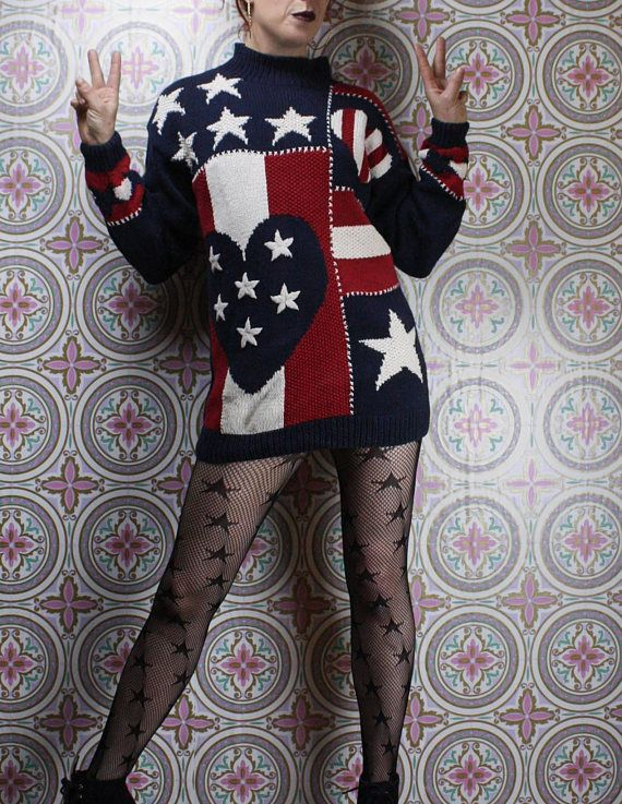 90's American Flag Sweater Dress in my Etsy shop https://www.etsy.com/ca/listing/588878821/90s-american-flag-sweater-dress-usa
