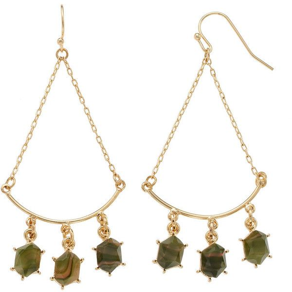 LC Lauren Conrad Green Stone Nickel Free Chandelier Earrings ($9.10) ❤ liked on Polyvore featuring jewelry, earrings, green, stone jewelry, facet jewelry, green chandelier earrings, stone earrings and green stone jewelry