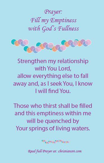Prayer - Fill my Emptiness with God's Fullness