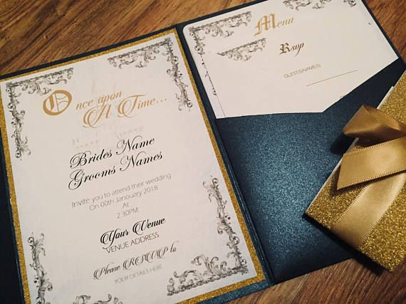 Beauty And The Beast Invite Be Our Guest Fairytale Wedding