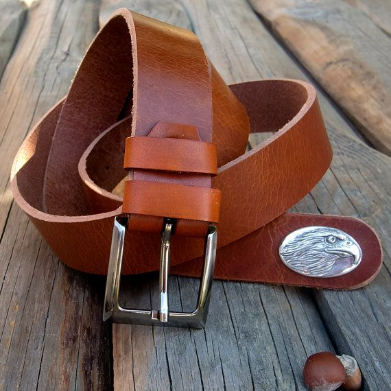 Men's Leather Belt Buffalo leather belt Eagle concho by JeansBelt
