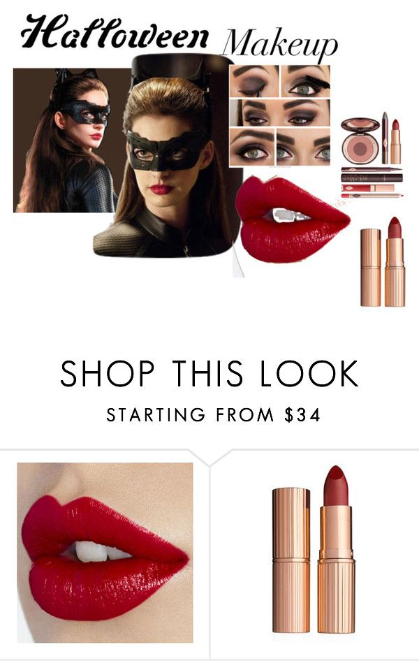 """""""Anne Hathaway Catwoman makeup"""" by naomig-dix ❤ liked on Polyvore featuring beauty, Charlotte Tilbury, Halloween, makeup, AnneHathaway and catwoman"""