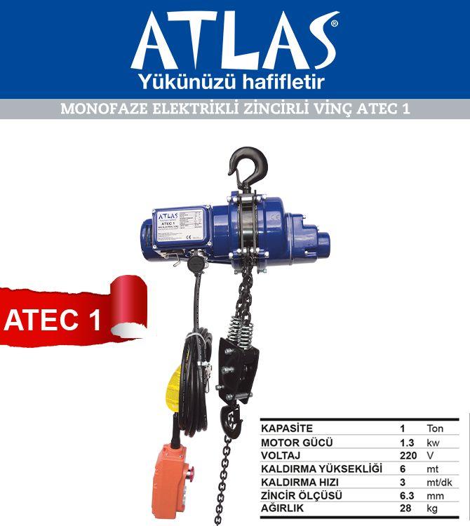 Elektrikli zincirli vinç Atlas ATEC 1 model 220 V elektrikle çalışan amatör vinç. Elektrikli vinç 1 ton kapasiteli hafif ve dayanıklı yapıda olan güvenilir vinçtir. http://www.ozkardeslermakina.com/urun/vincler-mini-elektrikli-halatli-vinc-atlas-atec-1-ton/