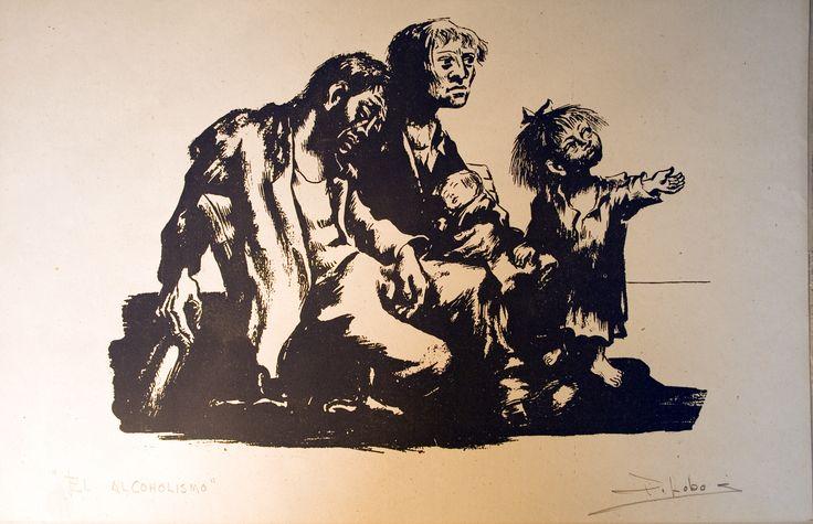 """Pedro Lobos """"El Alcoholismo"""" Pintor, Grabador y Muralista Chileno. (1919-1968)"""