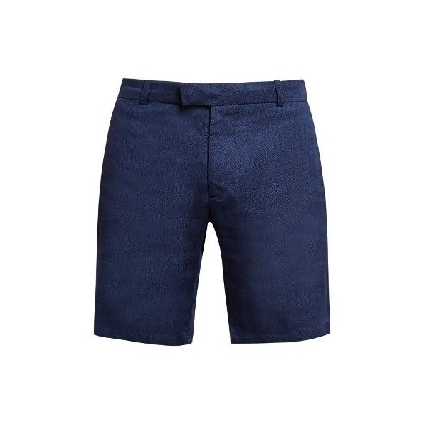Frescobol Carioca Tailored linen and cotton-blend shorts (5 195 UAH) ❤ liked on Polyvore featuring men's fashion, men's clothing, men's shorts, navy, mens tailored shorts, mens lightweight cargo shorts, mens linen shorts, mens navy blue shorts and old navy mens shorts