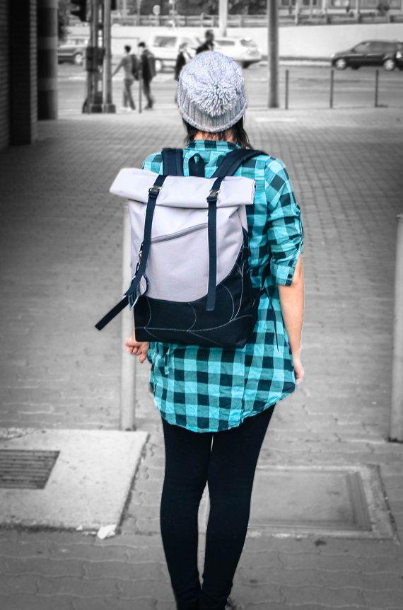 Grey Black Backpack Leaf Backpack Roll Top Backpack by LeaflingoOo, $88.00