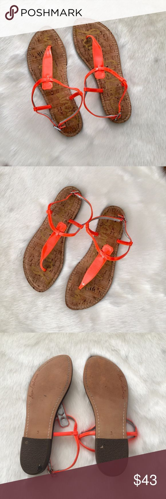 SAM EDELMAN • Gigi Sandals SAM EDELMAN • Gigi Sandals blood orange leather upper throng sandals with adjustable ankle straps, signature padded socks. Buckle closure. Size 9M EUR 39. Normal wear but overall great used condition. See pictures Length a little over 10 inches Sam Edelman Shoes Sandals