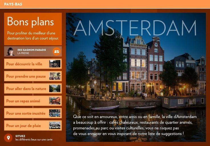 Que ce soit en amoureux, entre amis ou en famille, la ville d'Amsterdam a beaucoup à offrir:cafés chaleureux, restaurants de quartier animés, promenades au parc ou visites culturelles, vous ne risquez pas  de vous ennuyer en vous inspirant de notre liste de
