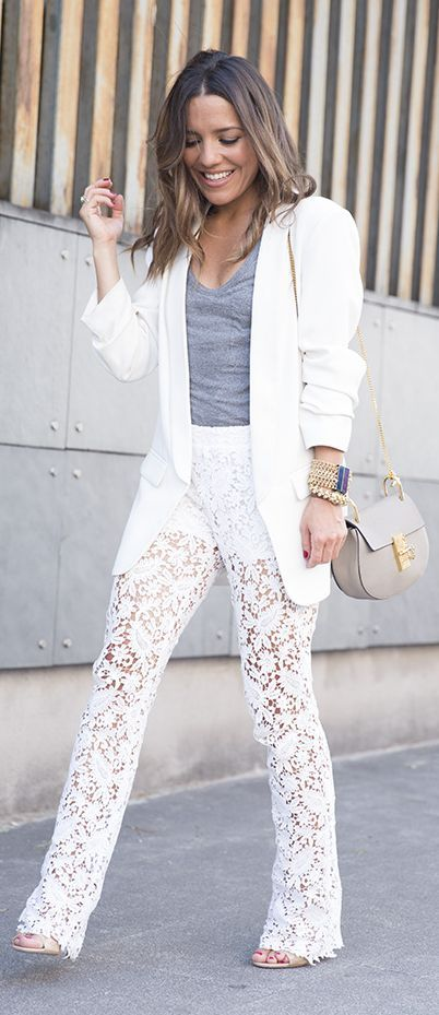 White Lace Pants Styling by Peeptoes