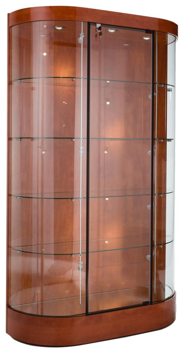 45 Display Case W Curved Front Locking Hinged Door Led Track Lights Cherry Glass Cabinets Display Display Case Display Cabinet