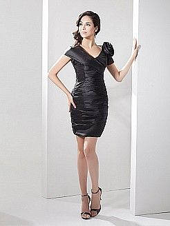 Short Sheath Elastic Satin Party Dress with Floral Accent - USD $99.99