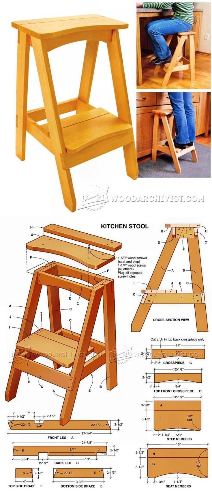 Kitchen Step Stool Plans - Furniture Plans and Projects | WoodArchivist.com  sc 1 st  Pinterest : 2 step folding plastic step stool - islam-shia.org