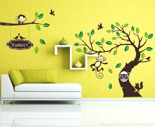 Fancy WallStickersDecal Dschungel Wald Tier Affe auf bunten Baum Wandtattoo Wandaufkleber cm H