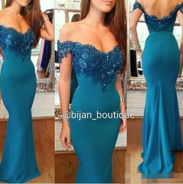 2017 Off Shoulder Lace Beaded Arabic Prom Dresses Mermaid Hunter Green Satin Long Backless Evening Dress Sexy Vintage Formal Party Gowns Cheap Plus Size Prom Dresses Under 100 Cheap Prom Dress Stores From Myweddingdress, $139.41| Dhgate.Com
