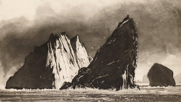 Norman Ackroyd, Stac an Armin Evening. Etching, 2010