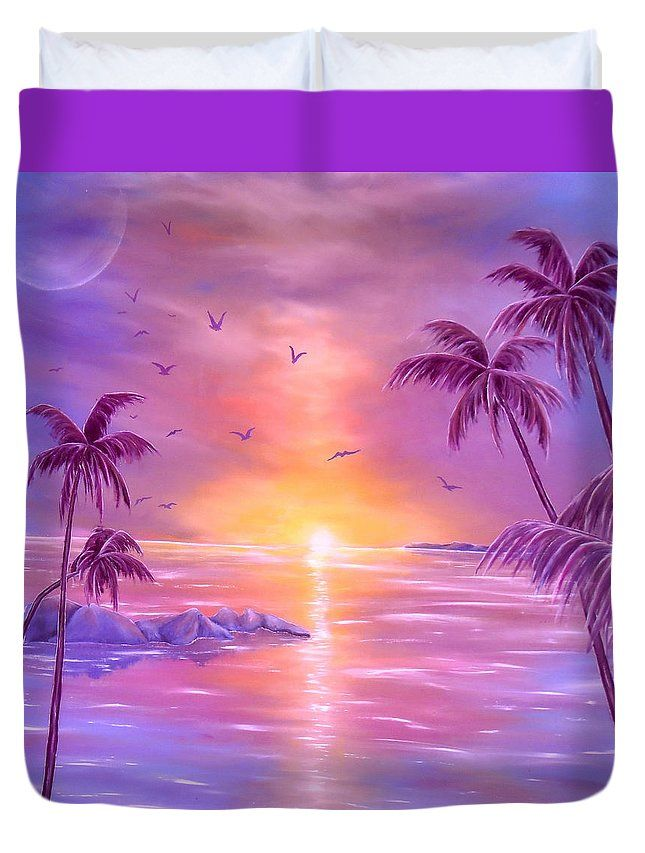 Duvet Cover,  home,accessories,bedroom,decor,cool,unique,fancy,artistic,trendy,unusual,awesome,beautiful,modern,fashionable,design,for,sale,items,products,ideas,purple,violet,tropical,sunset,palmtrees