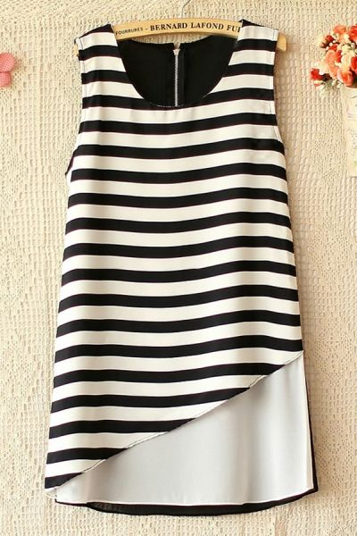 Stripe Sleeveless Chiffon Shirt - OASAP.com
