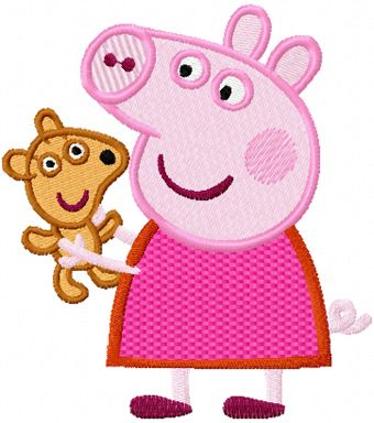 Peppa Pig with toy machine embroidery design